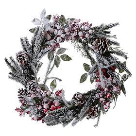 Coroa do Advento Guirlanda de Natal bagas com neve diâm. 50 cm s1