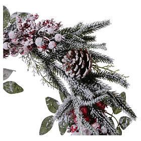 Coroa do Advento Guirlanda de Natal bagas com neve diâm. 50 cm s2