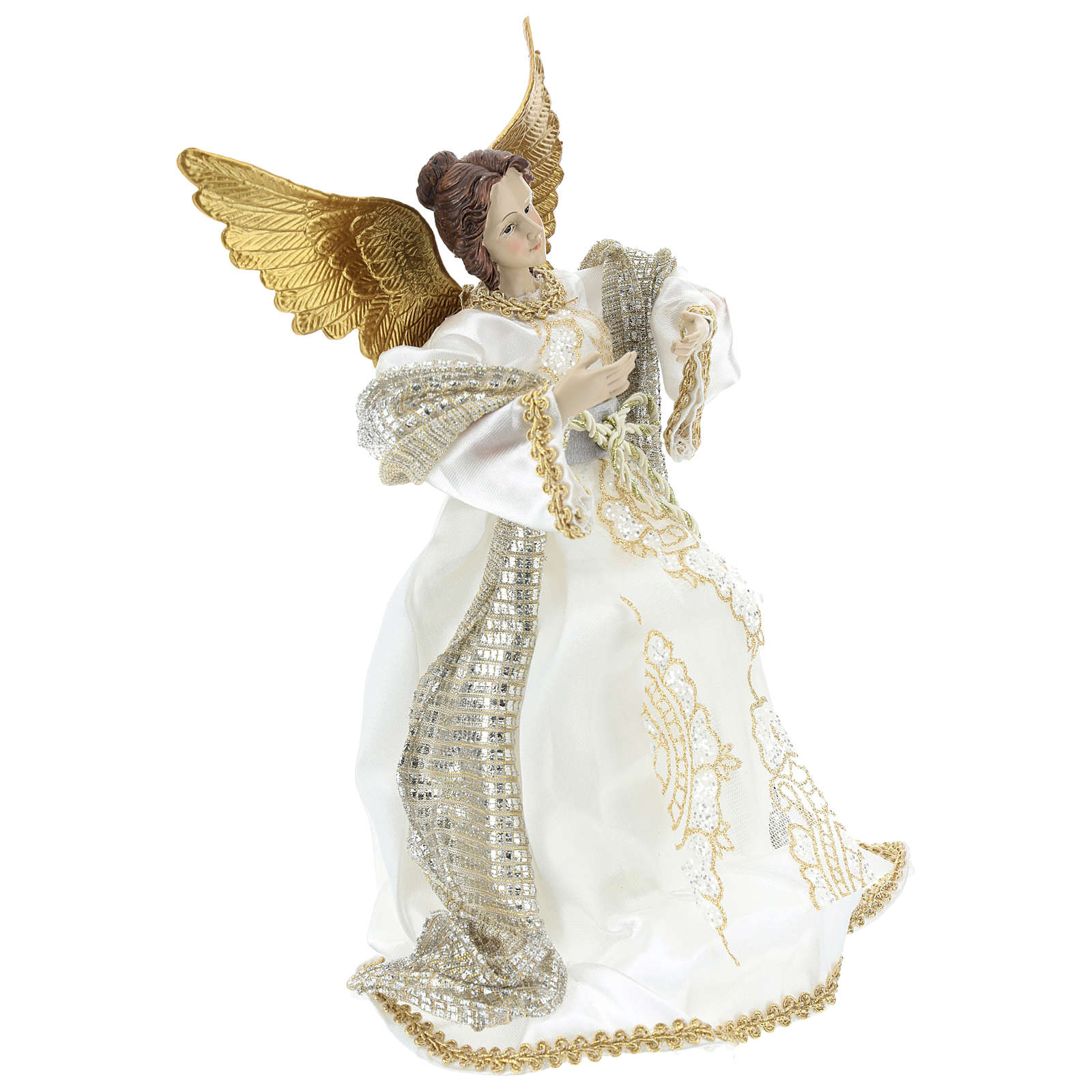 Annunciation Angel (Christmas Tree Tip) in resin with white cloth 28 cm 3