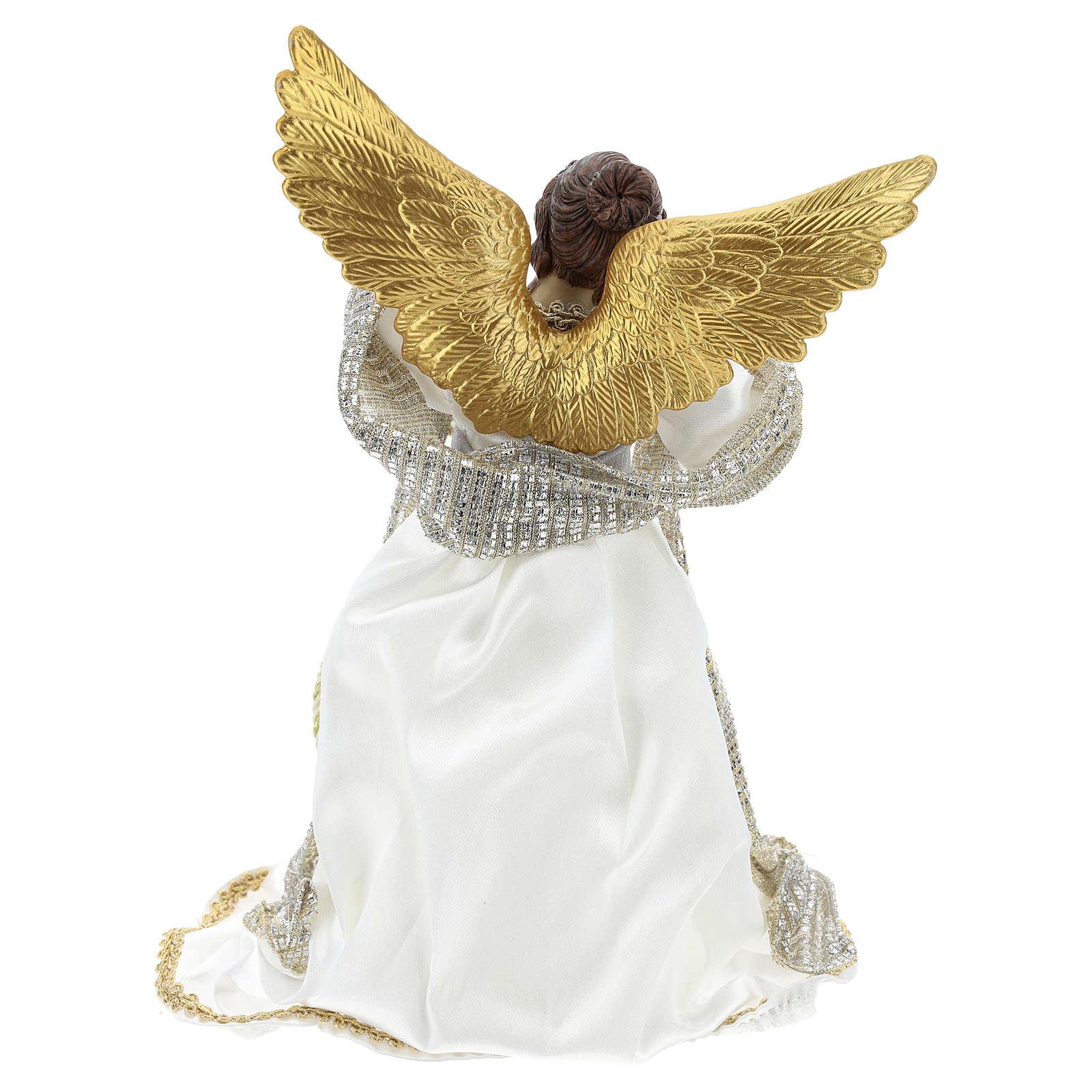 Ange Annonciation cimier tissu blanc 28 cm résine 3