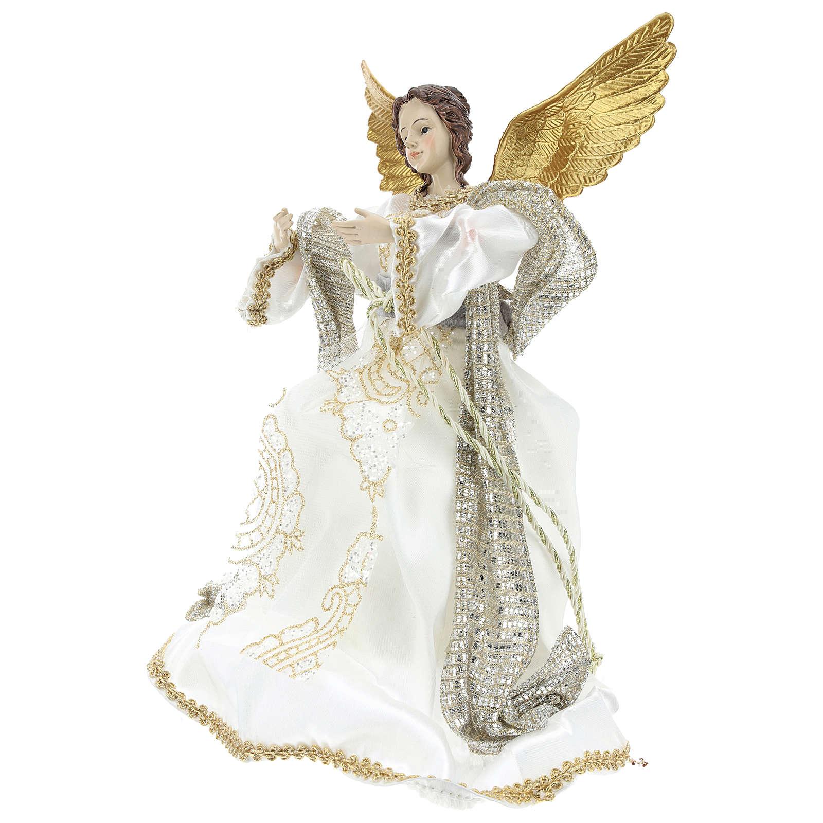 Angelo Puntale Annunciazione stoffa bianca 28 cm resina 3
