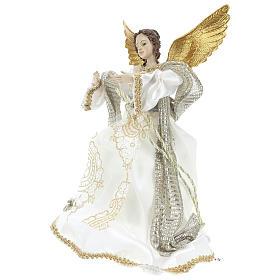 Angelo Puntale Annunciazione stoffa bianca 28 cm resina s3