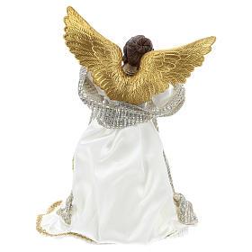 Angelo Puntale Annunciazione stoffa bianca 28 cm resina s5