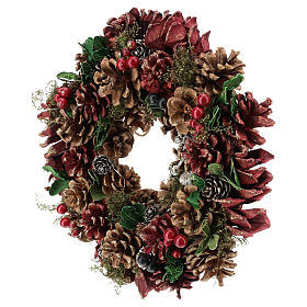 Advent wreath with pine cones and berries 30 cm in diameter Red finish s3