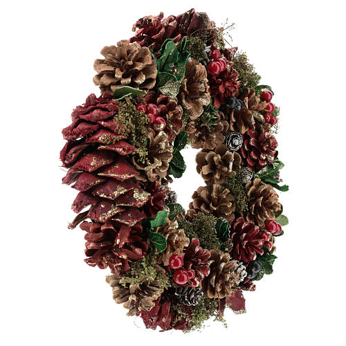 Advent wreath with pine cones and berries 30 cm in diameter Red finish 4