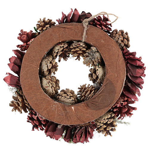 Advent wreath with pine cones and berries 30 cm in diameter Red finish 5
