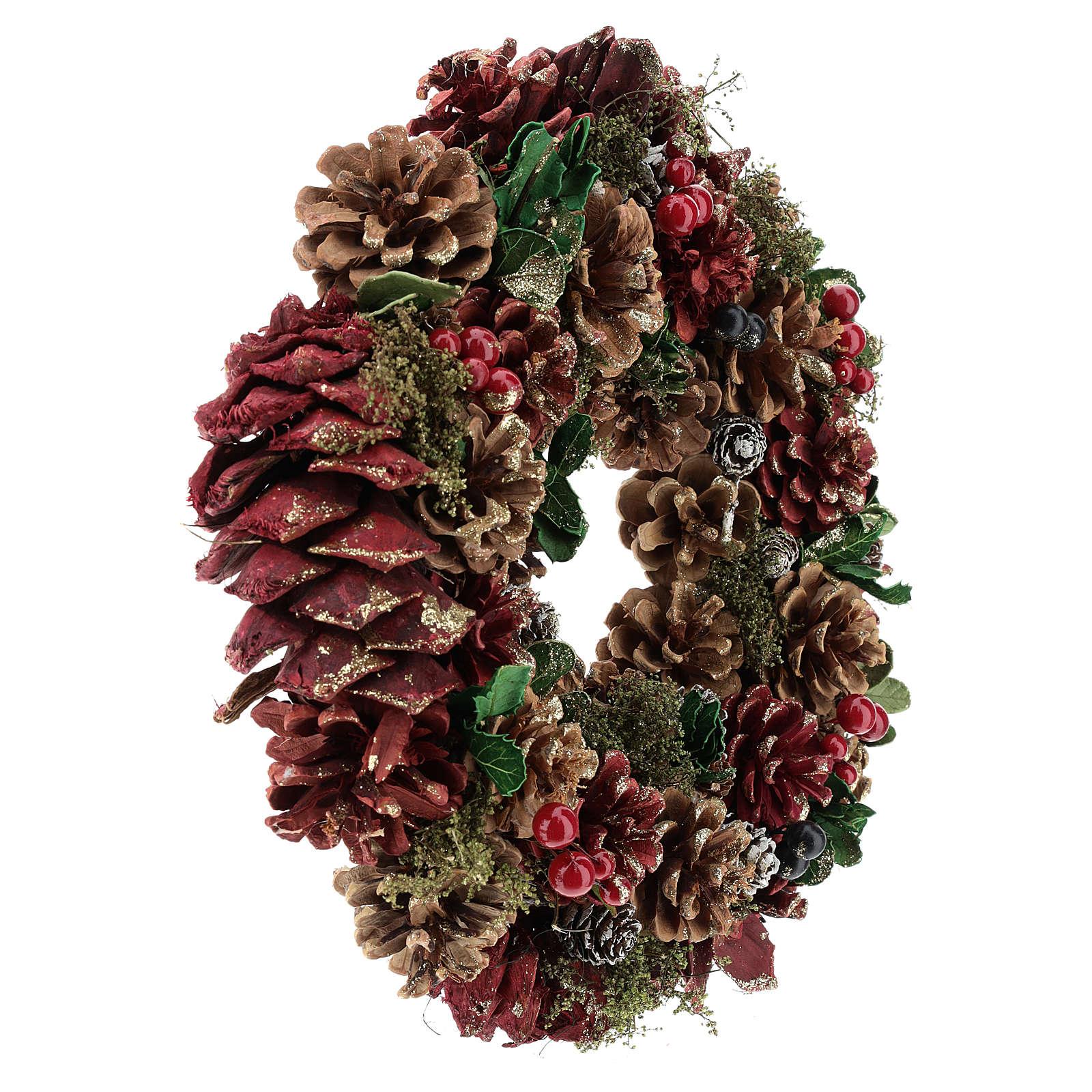 Couronne Avent pomme de pin et baies 30 cm rouge 3