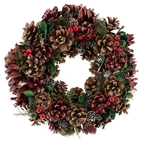 Enfeites de Natal para a Casa: Coroa Advento pinhas e bagas 30 cm vermelha