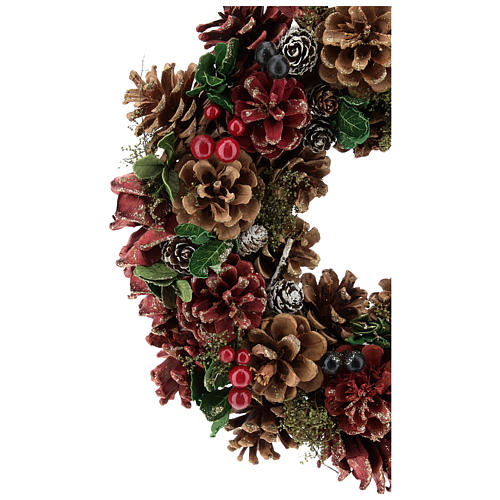 Advent wreath pine cones and berries 30 cm diam Red 2