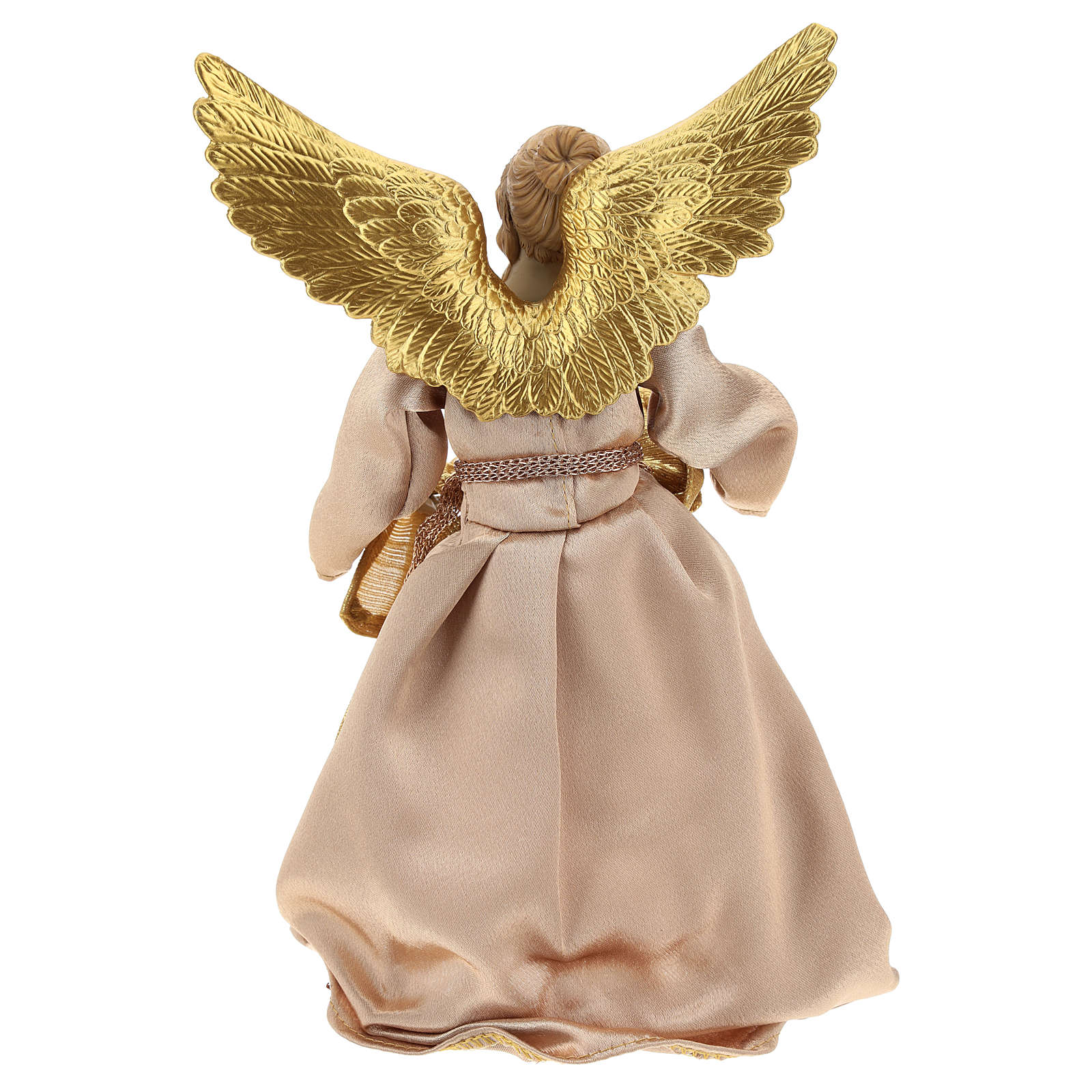 Annunciation Angel (Christmas Tree Tip) in resin with golden fabric 28 cm 3