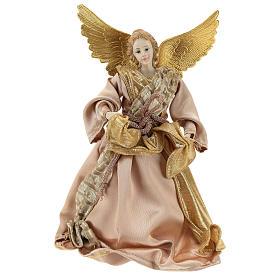 Enfeites de Natal para a Casa: Anjo Anunciação ponteira tecido ouro 28 cm resina