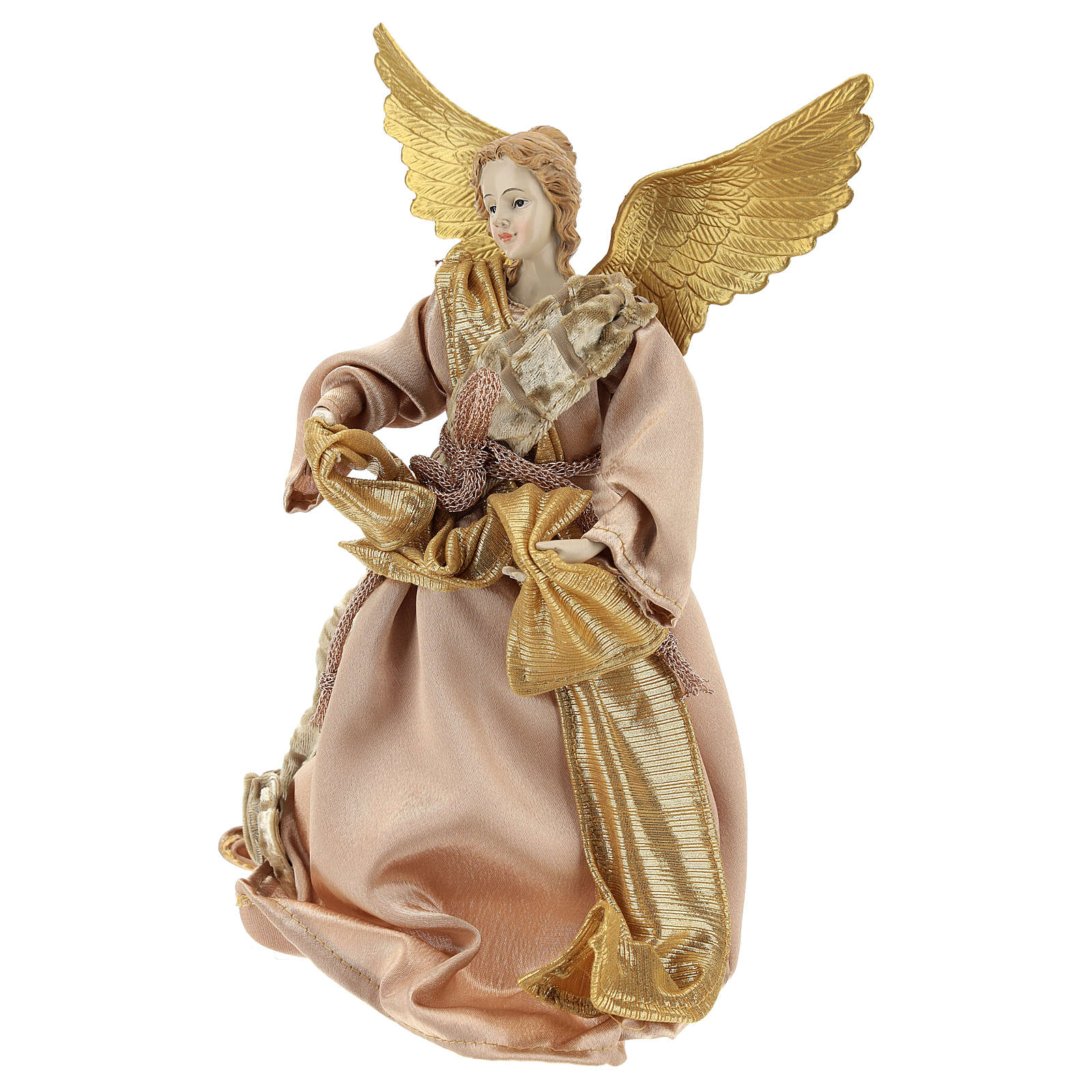 Christmas tree topper Announcing angel, gold cloth 28 cm ...