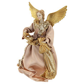 Christmas tree topper Announcing angel, gold cloth 28 cm resin s3