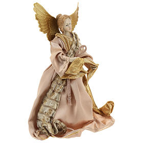Christmas tree topper Announcing angel, gold cloth 28 cm resin s4