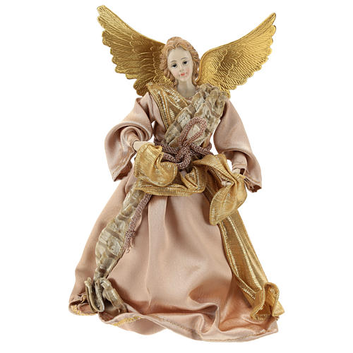 Christmas tree topper Announcing angel, gold cloth 28 cm resin 1