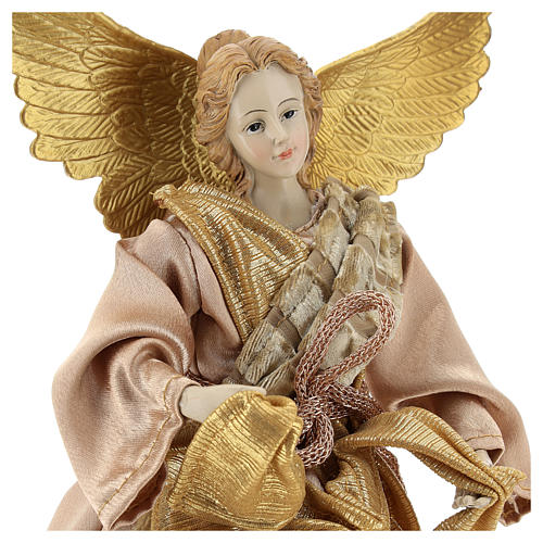Christmas tree topper Announcing angel, gold cloth 28 cm resin 2