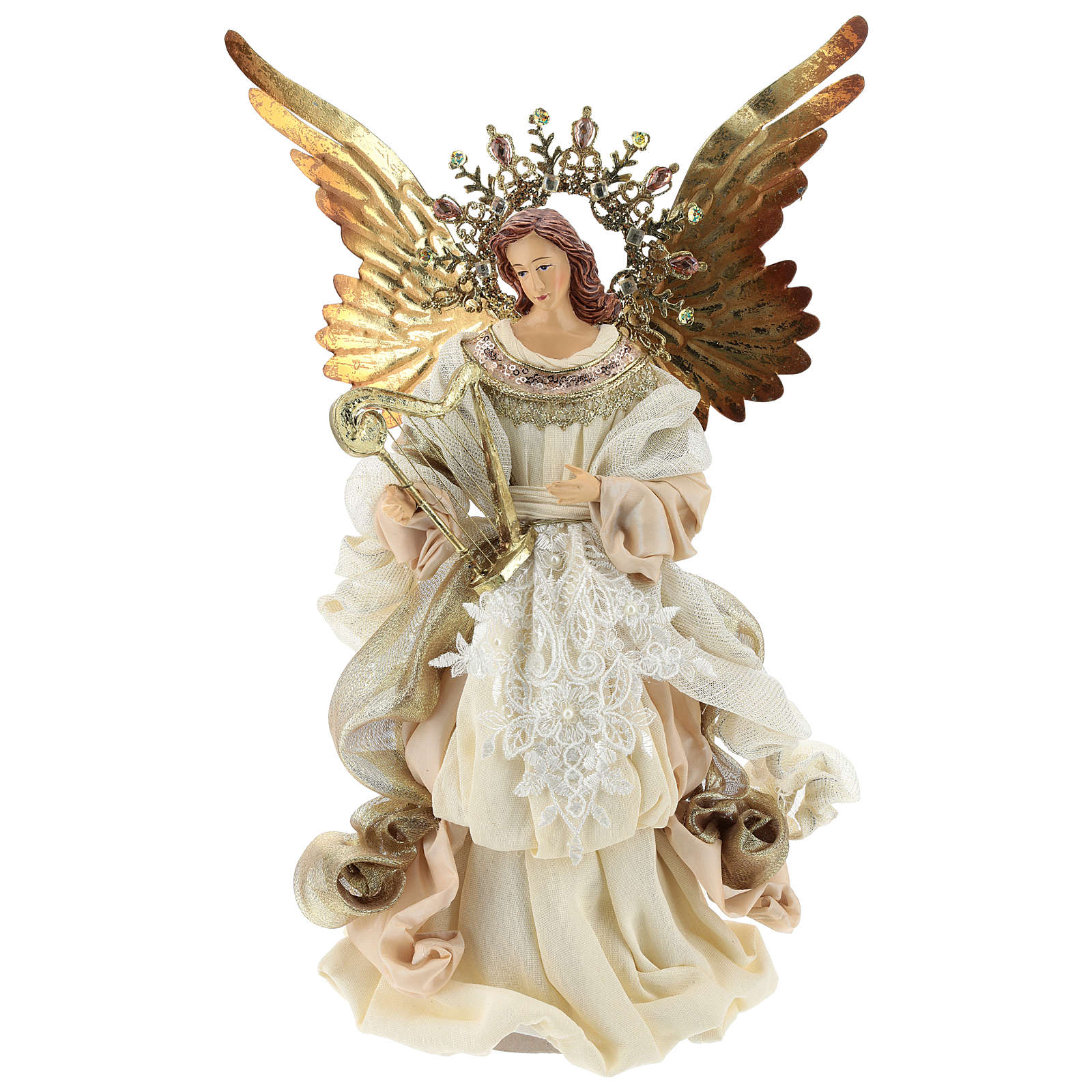 Angel (Christmas Tree Tip) with harp 36 cm resin and fabric 3
