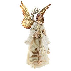 Ange avec harpe cimier 36 cm résine et tissu s4