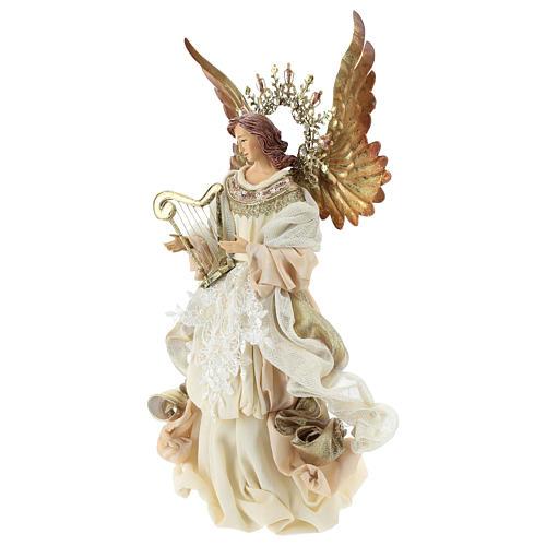 Ange avec harpe cimier 36 cm résine et tissu 3