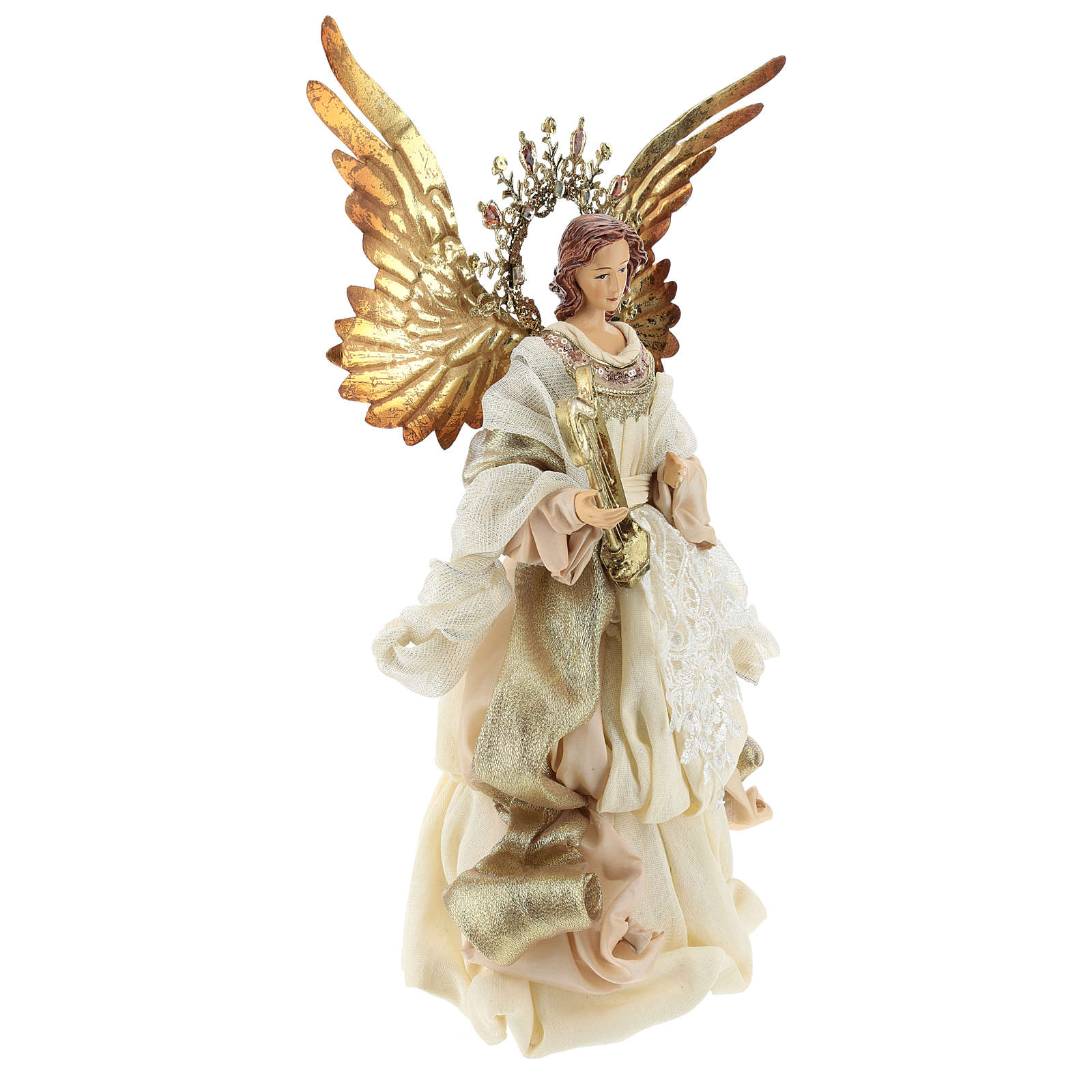 Angel tree topper with harp 36 cm resin and cloth 3