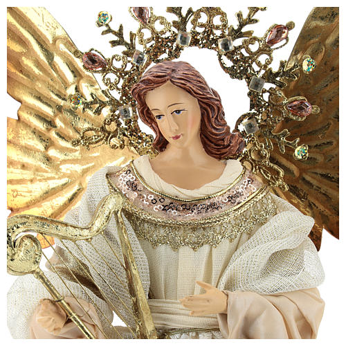 Angel tree topper with harp 36 cm resin and cloth 2