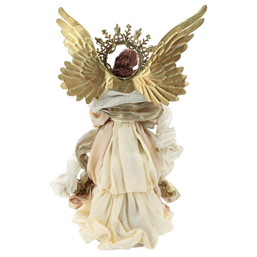 Angel tree topper with harp 36 cm resin and cloth 5