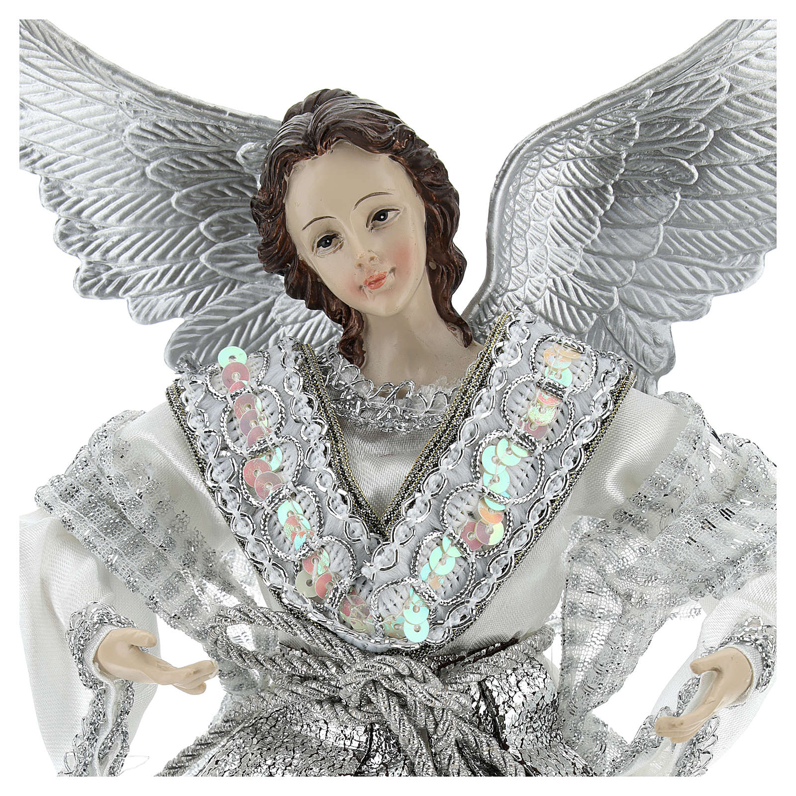 Annunciation (Christmas Tree Tip) Angel in silvery clothes 28 cm resin and cloth 3