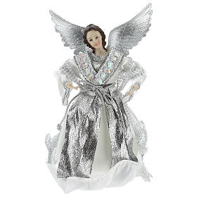 Annunciation (Christmas Tree Tip) Angel in silvery clothes 28 cm resin and cloth s1