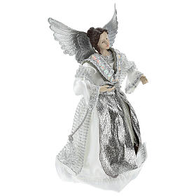 Annunciation (Christmas Tree Tip) Angel in silvery clothes 28 cm resin and cloth s4
