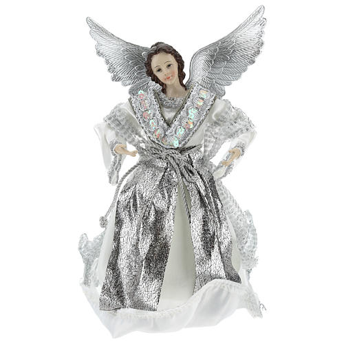 Annunciation (Christmas Tree Tip) Angel in silvery clothes 28 cm resin and cloth 1