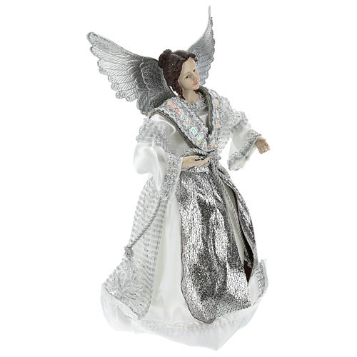 Annunciation (Christmas Tree Tip) Angel in silvery clothes 28 cm resin and cloth 4