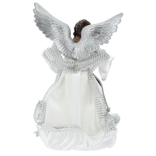Annunciation (Christmas Tree Tip) Angel in silvery clothes 28 cm resin and cloth 5