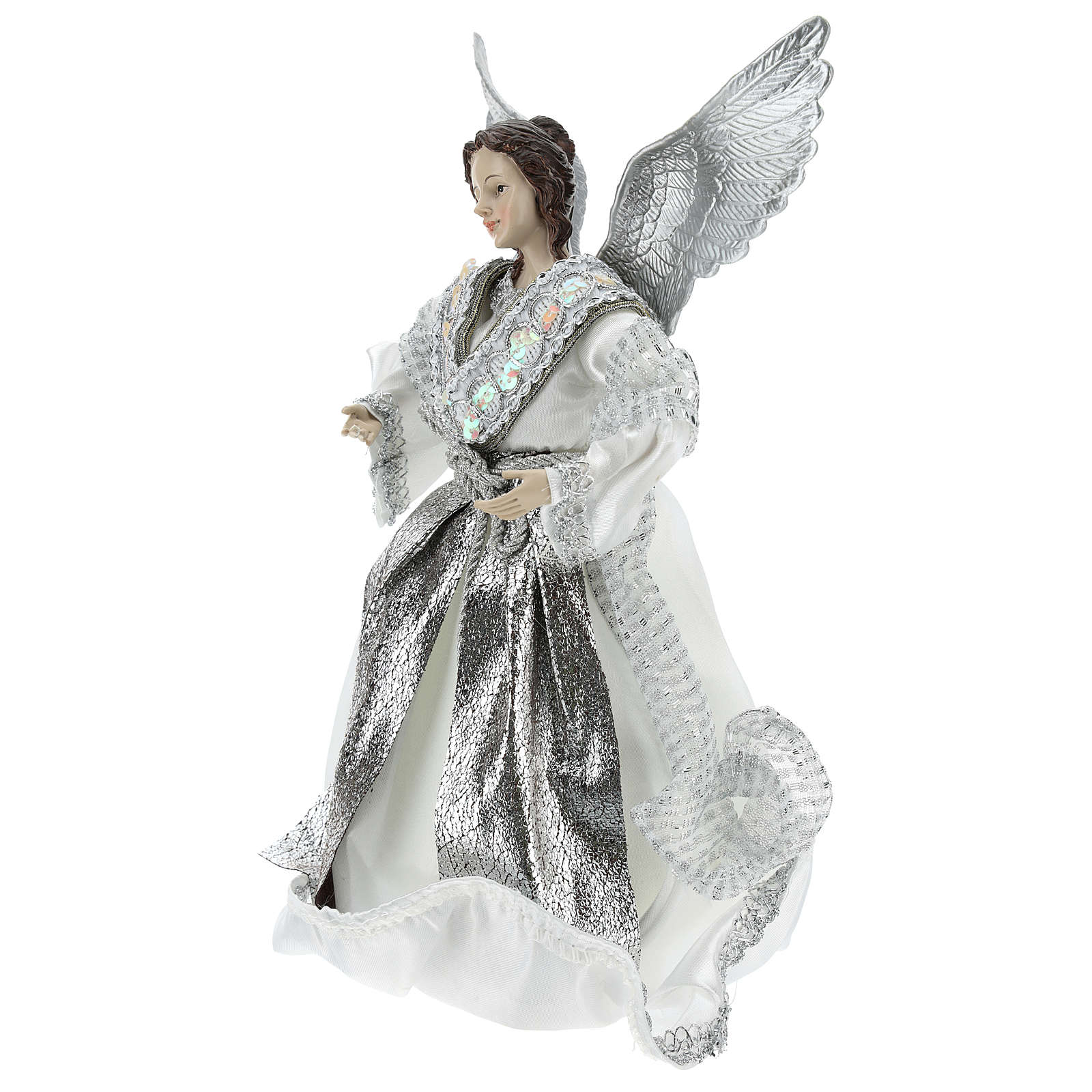 Ángel Punta Anunciación con vestidos plateados 28 cm 3