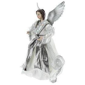 Ángel Punta Anunciación con vestidos plateados 28 cm s3