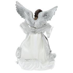 Ángel Punta Anunciación con vestidos plateados 28 cm s5