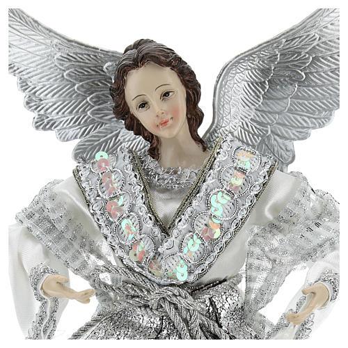 Ángel Punta Anunciación con vestidos plateados 28 cm 2