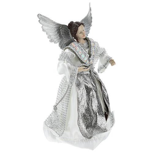 Ángel Punta Anunciación con vestidos plateados 28 cm 4