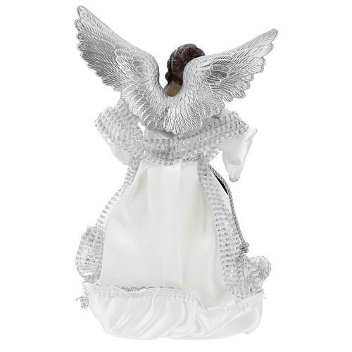 Ángel Punta Anunciación con vestidos plateados 28 cm 5