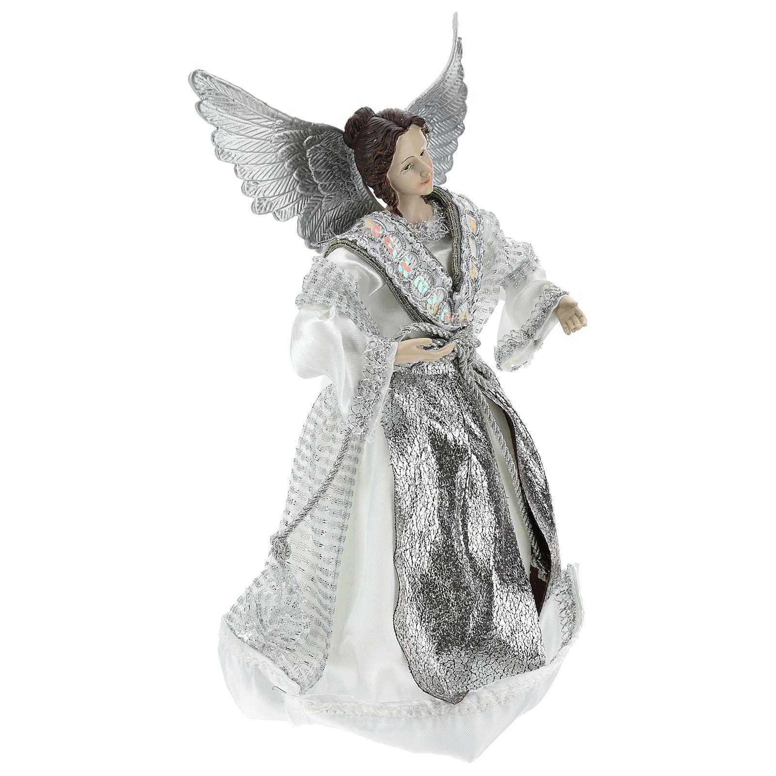 Ange Annonciation cimier pour sapin avec vestes argentées 28 cm 3
