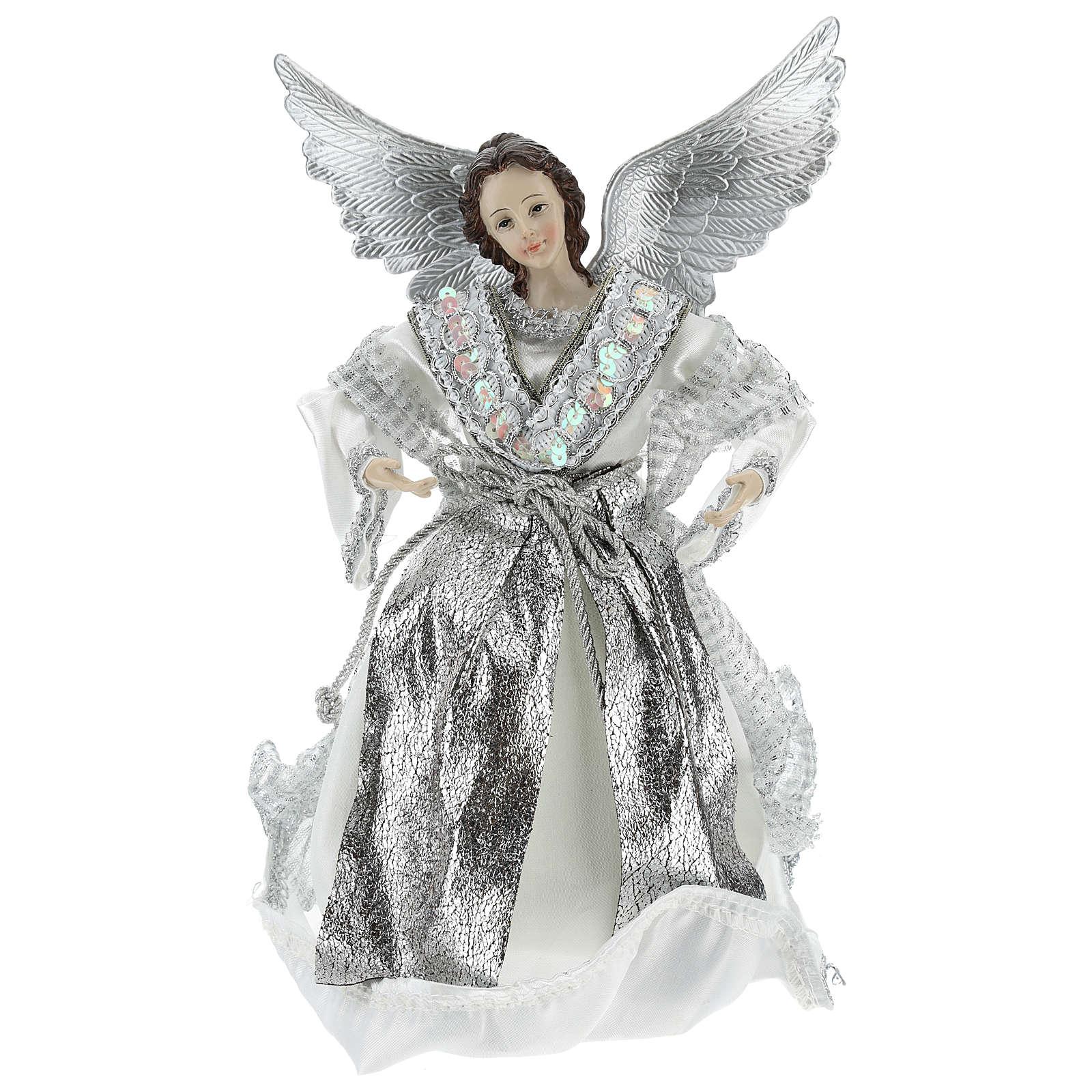 Angelo Puntale Annunciazione con abiti argentati 28 cm  3