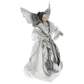 Angelo Puntale Annunciazione con abiti argentati 28 cm  s4