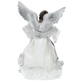 Angelo Puntale Annunciazione con abiti argentati 28 cm  s5
