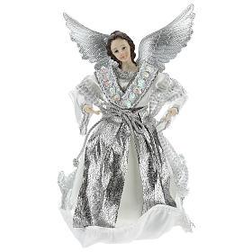 Enfeites de Natal para a Casa: Anjo Anunciação ponteira com roupas prateadas 28 cm