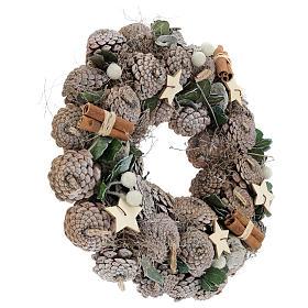 Couronne Avent baies et étoiles 30 cm blanc naturel s4
