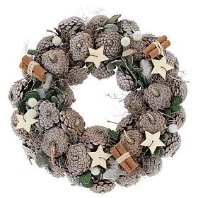 Enfeites de Natal para a Casa: Coroa Advento bagas e estrelas 30 cm branco natural