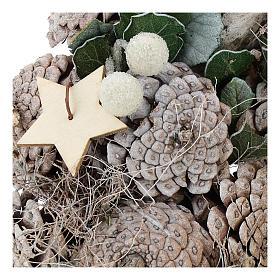 Coroa Advento bagas e estrelas 30 cm branco natural s2