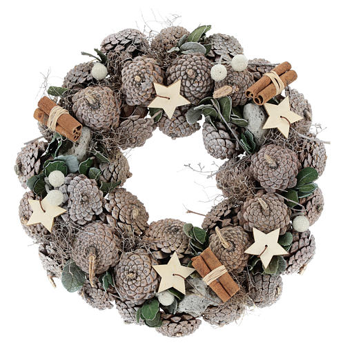 Advent wreath with pine cones and stars 30 cm White Natural 1