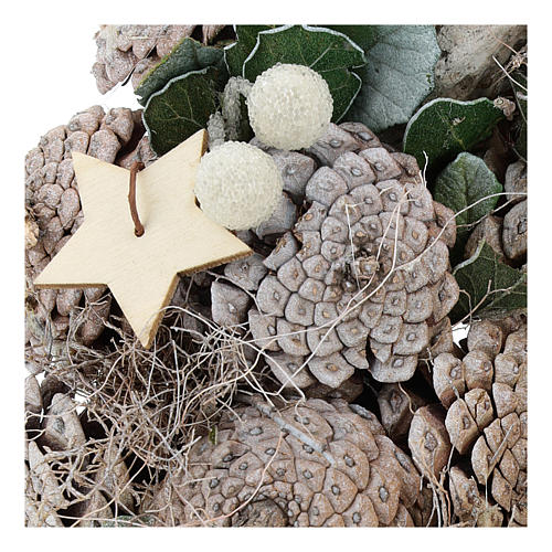 Advent wreath with pine cones and stars 30 cm White Natural 2