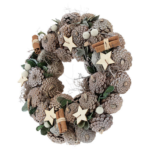 Advent wreath with pine cones and stars 30 cm White Natural 3