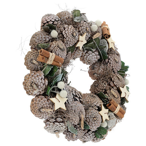 Advent wreath with pine cones and stars 30 cm White Natural 4